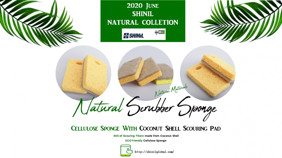 2020June 1차 - Cellulose Sponge with Coconut Shell Scouring Pad